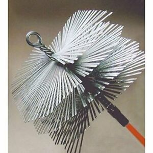 "Heavy-Duty Flat Wire Steel Chimney Brush 3/8"" Thread"