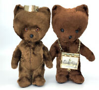 Plush 1950s Paper Mache Teddy Bear x 2 Hungary Photo Necklace 5in Russian Soviet