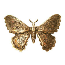 RESTYLE STEAMPUNK MECHANICAL MOTH BUTTERFLY HAIRCLIP Barrette Brass Colour Gears