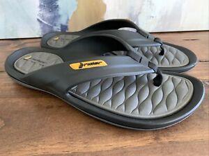 Rider Grendene Flip Flop Thong Beach Sandals ~ Men's Size 9 BLACK/YELLOW