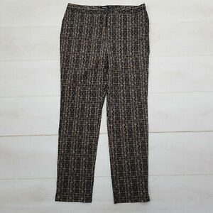 KLASS Lounge Trousers Size 14 W34 L28 Black Gold Tribal Stretch Zip Casual Soft