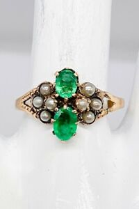 Antique Victorian 1880 $2500 1.50ct Colombian Emerald Pearl 14k Yellow Gold Ring