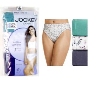 3 Pr Jockey Elance French Cut Cotton Underwear Plum Teal Print Choose Size New