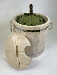 Bucket barrel steamer for bath, sauna with lid cooperage made of linden 13litres