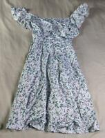 Yoins Women's Short Sleeve Ruffle Floral Dress NA8 Blue Size XS NWT