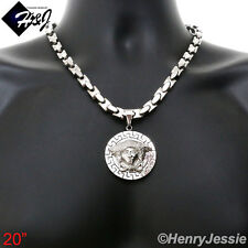 "20""Stainless Steel 8mm Silver Interlock Bone Chain Necklace 3D Round Pendant*P69"