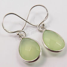 925 Solid Sterling Silver Checker Faceted GREEN CHALCEDONY Earrings Gemstones