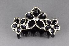 "Black Gold hair clip flower floral plastic barrette jaw claw clamp 3.5"" long"