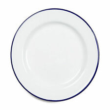Falcon Enamel Dinner Plate 26cm White/blue Rim