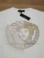 Medusa Crystal Embroidered Men White T-Shirt