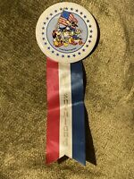 Vintage Disneyland 1976 Bicentennial Character Pin Back Button With Ribbon