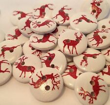 20 CHRISTMAS RED ELK, MOOSE, REINDEER 15mm WOODEN BUTTONS CARDS & DECORATIONS