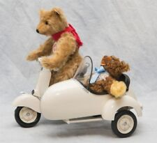 2005 Steiff Teddy Bear and Vespa Motor Scooter with Sidecar Roller Set NIB