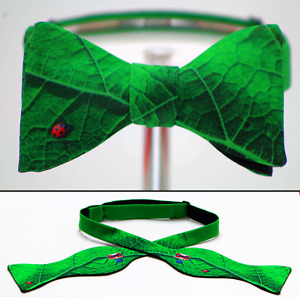 "UNIQUE DESIGNER BOW TIE ""Ladybug Leaf"" - Handmade by Remarkable Bowties"