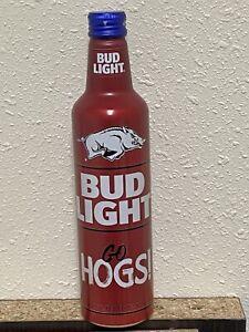 """2021 Arkansas Razorbacks """"GO HOGS"""" Bud Light Aluminum Beer Bottle"""