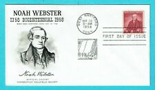 Us Fdc 1121, Noah Webster, Connecticut Philatelic Cachet