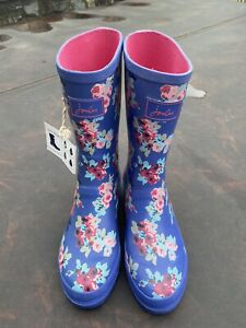 Joules Size 7 Blue And Pink Floral Molly Mid Height Wellies New No Box