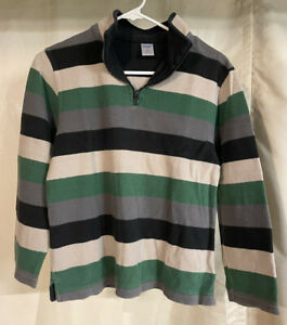 Gymboree Boys 12 Sweater 1/4 Zip Green, Cream, Gray, Navy Blue Stripes