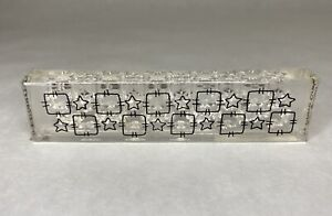 Stars And Squares Border Rubber Stamp Acrylic Mount Unbranded