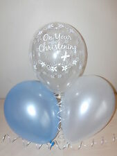 Blue Christening Balloons / Blue White Clear Helium Quality Party Decorations x9