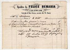 fattura antica - FELICE DEMARIA CALZOLAIO TORINO 1855
