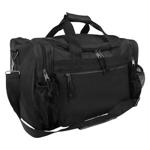 """DALIX 15"""" Duffle Bag Dual Front Mesh Accessories Pockets in Black"""