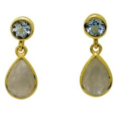 Earrings Blue Topaz and Moonstone Sterling Silver Gold Overlay Post Dangle