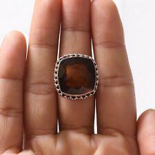 Handmade 925 Solid Sterling Silver Jewelry Smoky Quartz Gemstone Ring Size 8