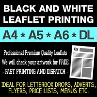 Premium Black & White Leaflet Printing - A4 A5 A6 DL Flyers Printed FROM £6.50