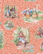 Beatrix Potter Fabric Benjamin Bunny Vignette Baby Storybook Characters Peach