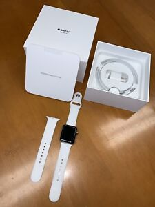 Apple Watch Series 3 42mm Stainless Steel Case with Soft White Sport Band (GPS +