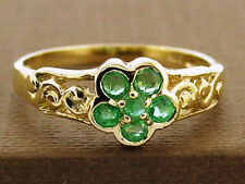 R137 Genuine 9ct Solid Gold Natural Emerald Blossom Flower Ring filigree scroll