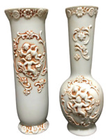 "Cherub Bud Vases Bisque Porcelain Set Of 2 Vintage Collectible 6-1/2"" Tall NICE!"