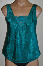 Vintage Deena Emerald Green Camisole Silky Satin Jacquard Lace S