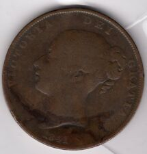 1841 QUEEN VICTORIA ONE PENNY 1d - OLD THICK STYLE COIN - YOUNG HEAD (a)