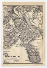1914 ORIGINAL ANTIQUE CITY MAP OF KRISTIANSAND / KRISTIANSSAND / NORWAY