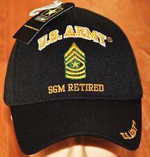 New Black US Army SGM Sergeant Major Retired Hat Ball Cap Veteran E-9 Licensed