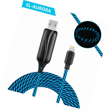 EL-AURORA Lightning to USB Cable 360 Degree Light Up Visible Flowing Glowing LED