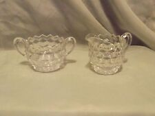 Vintage Cube Pattern Pressed Glass/Fostoria Cream and Sugar Set