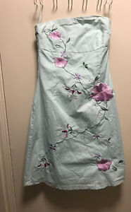 Jane Norman Pale Blue Embroidered Strapless Dress - Size 10