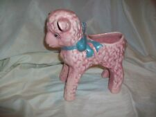 Vintage Large Art Pottery Pink Lamb Baby Planter Tall