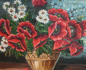 VINTAGE OIL PAINTING POPPY FLOWERS