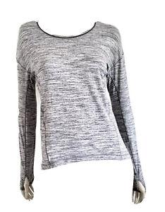 LULULEMON Sweat Embrace Long Sleeve Shirt Gray Space Dye Top Thumbholes 4 6