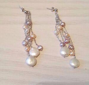 925 Sterling silver Drop Dangle Freshwater pearl Earrings