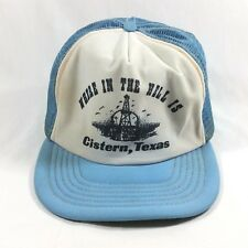 Vintage Where in the Hell is Cistern Texas Lt Blue Snapback Hat Cap Trucker Mesh