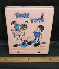 """Vintage TUNE TOTE 7"""" Vinyl 45s Record Holder Case Pink Pony Tail Music !!"""