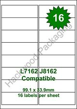 16 Labels per Sheet x 100 Sheets L7162 / J8162 White Matt Copier Inkjet Laser