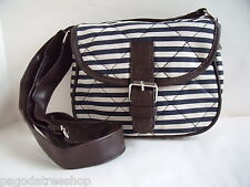 New Small Over Body Messenger Bag - Navy Cream Stripe Canvas & Leatherette Trim