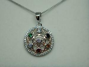 Isle of Wight Sterling Silver 925 CZ Multi Colour Flower of Life Pendant & Chain