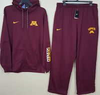 NIKE MINNESOTA GOPHERS THERMA-FIT SUIT HOODIE + PANTS MAROON GOLD (SIZE 2XL 3XL)